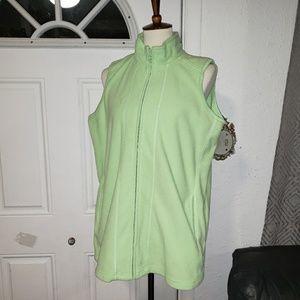 Women Within Nice Green Fleece Vest Zip M